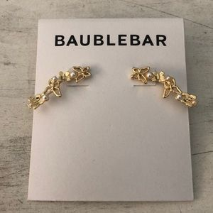 BAUBELBAR Goldtone Faux Pearl Ear Climbers NEW